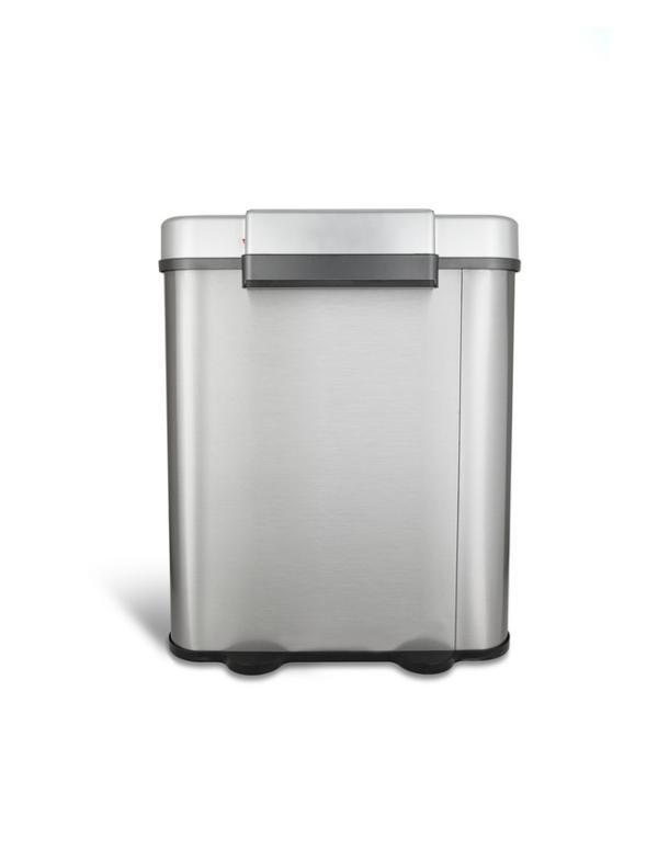 prullenbak dubbel afvalbak thrashcan sensor ninestars automatisch 70 liter roestvrij staal achterkant