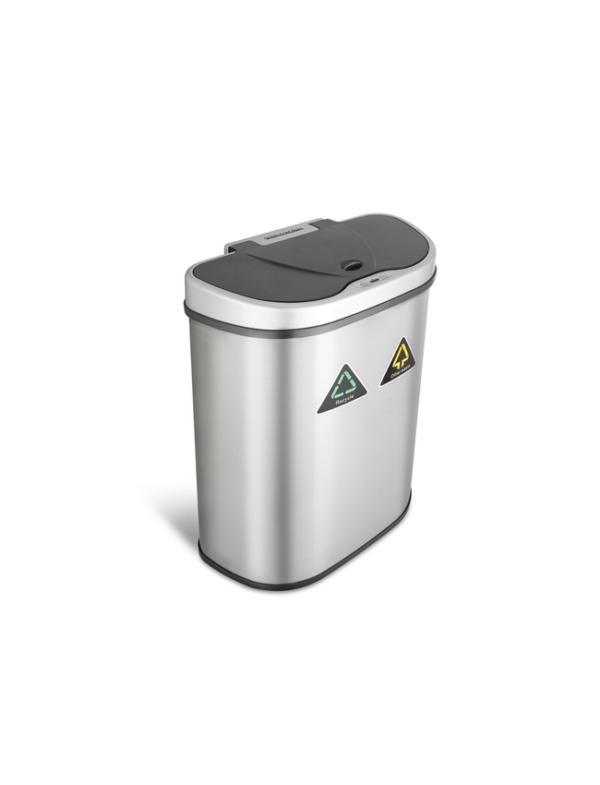 prullenbak dubbel afvalbak dubbel thrashcan sensor ninestars automatisch 70liter roestvrij staal hot