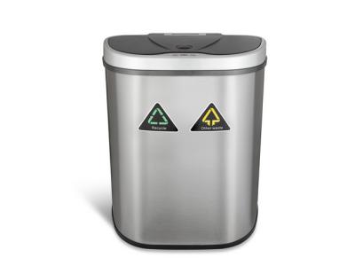 prullenbak dubbel afvalbak thrashcan sensor ninestars automatisch 70liter roestvrij staal new