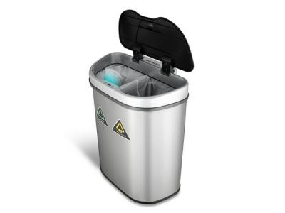 prullenbak dubbel afvalbak thrashcan sensor ninestars automatisch 70liter roestvrij staal nieuw