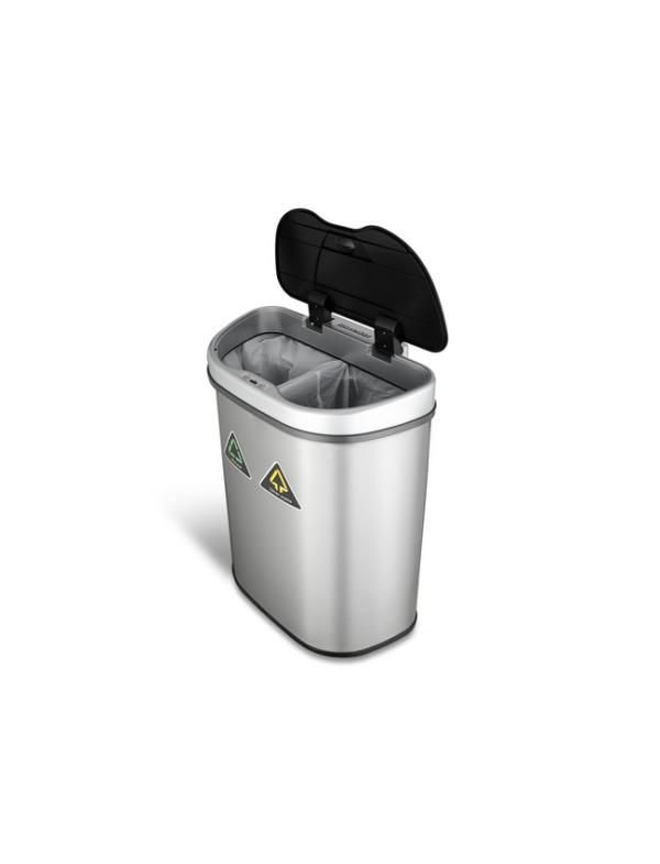 prullenbak dubbel afvalbak thrashcan sensor ninestars automatisch 70liter roestvrij staal sale