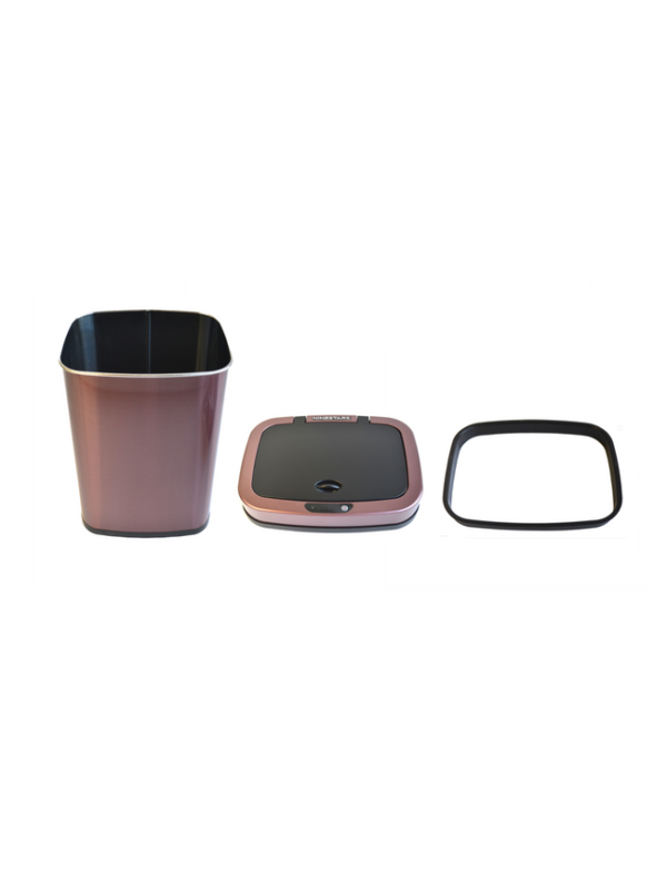 prullenbak afvalbak trashcan sensor ninestars 12liter rosé golden pedaalemmer automatisch rvs