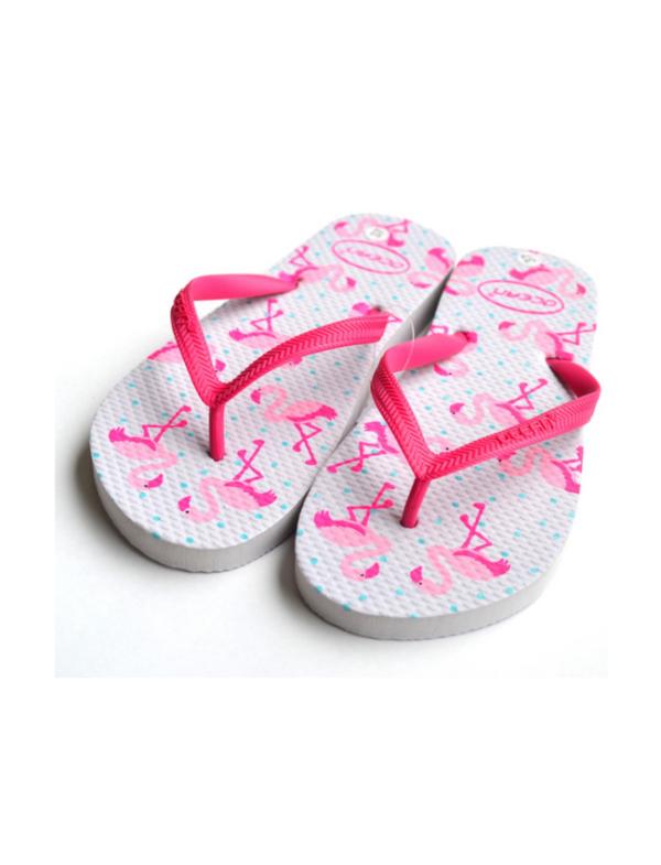 teenslippers dames zomer badslippers flamingo roze twee