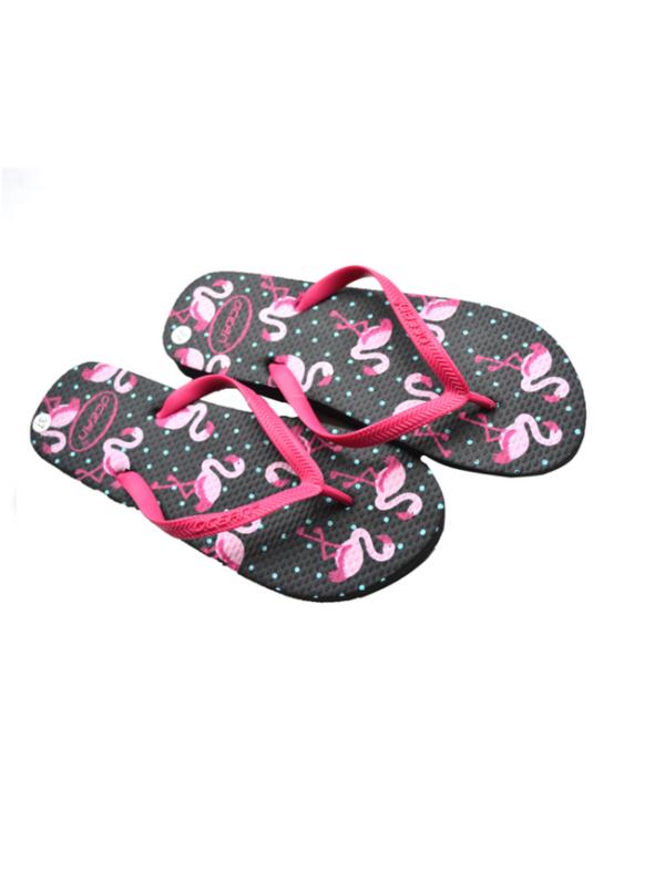 teenslippes dames zomer badslippers flamingo zwart