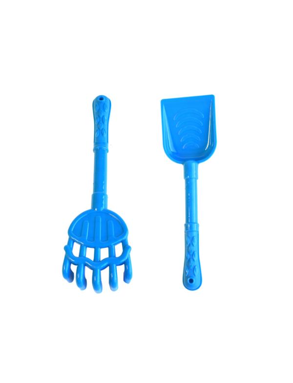 strandspeelgoed kruiwagen beach toys 6delig blauw harkje schepje