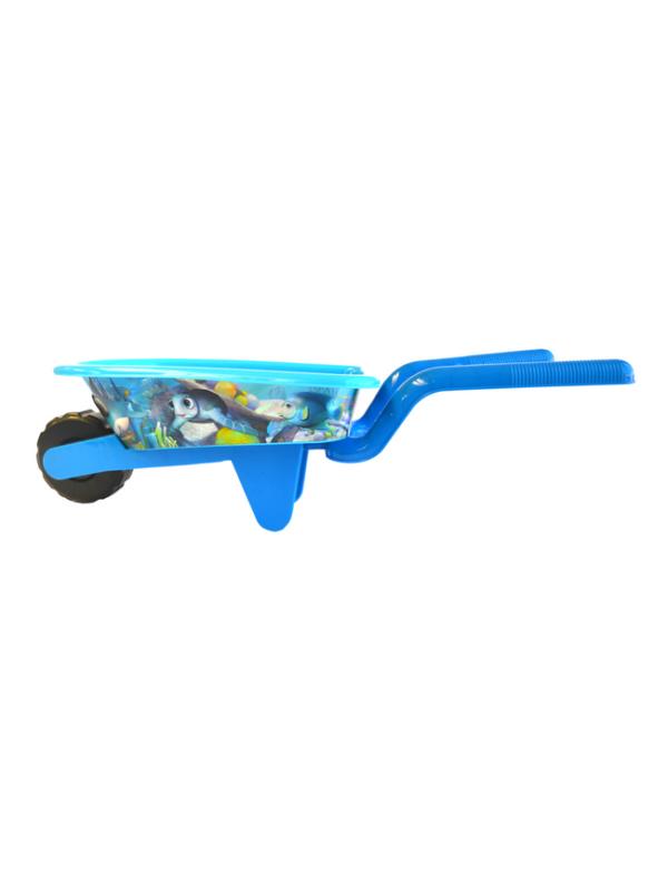 strandspeelgoed kruiwagen beach toys 6delig blauw zijkant