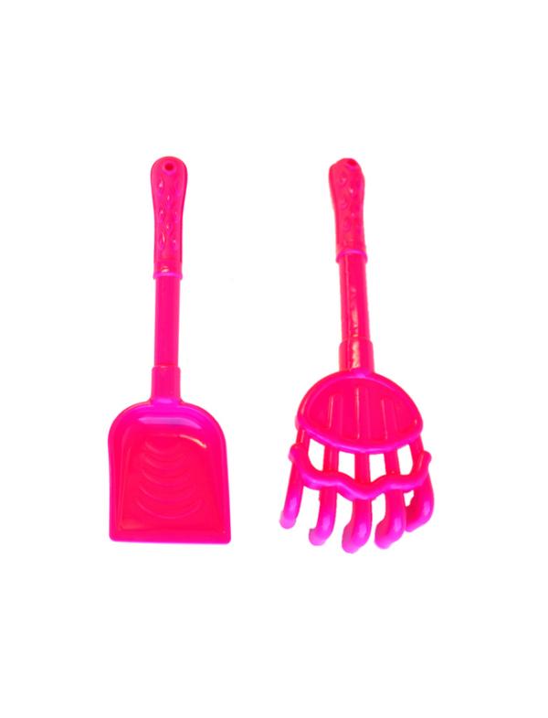 strandspeelgoed kruiwagen beach toys 6delig roze harkje schepje