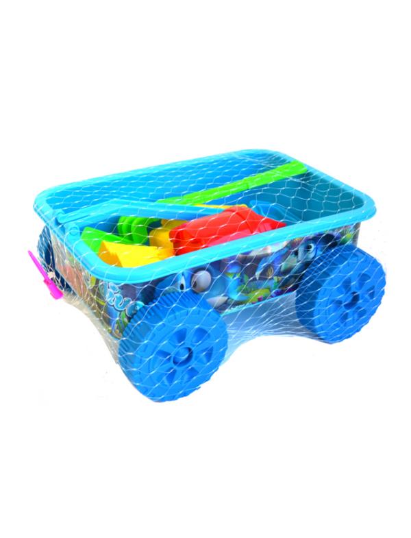 strandspeelgoed wagentje beach toys 6delig blauw netbag