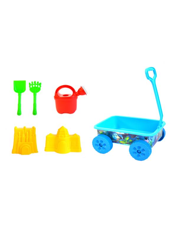 strandspeelgoed wagentje beach toys 6delig blauw show