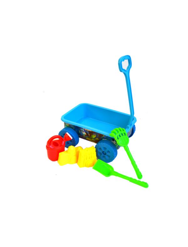 strandspeelgoed wagentje beach toys wagentje 6delig blauw strand