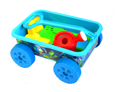 strandspeelgoed wagentje beach toys wagentje 6delig blauw volledig
