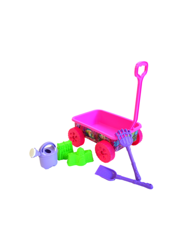 strandspeelgoed wagentje beach toys 6delig roze delen