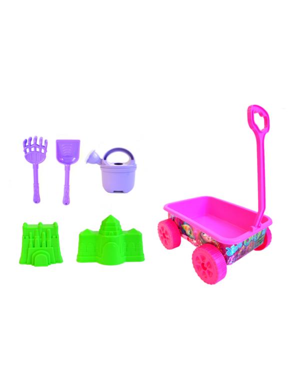 strandspeelgoed wagentje beach toys 6delig roze strand