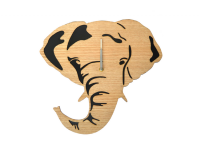 Olifant wandklok Houten klok olifant