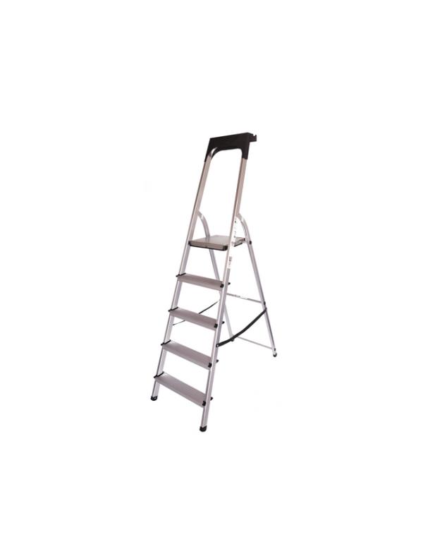 huishoudtrap 5 treden aluminium ladder anti slip opbergkap trap