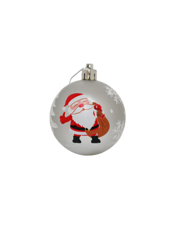 kerstballen kerstman zilver