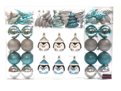 kerstballen kerstversiering pinguïn 52 stuks blauw zilver