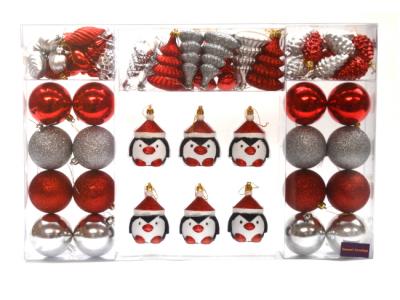 kerstballen kerstversiering pinguïns 52 stuks rood
