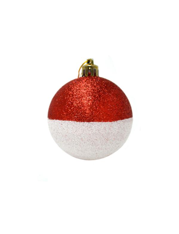 kerstballen rood wit glinster