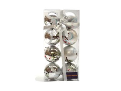 kerstballen sneeuwpop zilver