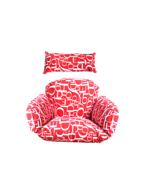 hangstoel kussen rood tekst