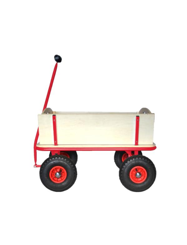 houten bolderkar rood zijkant